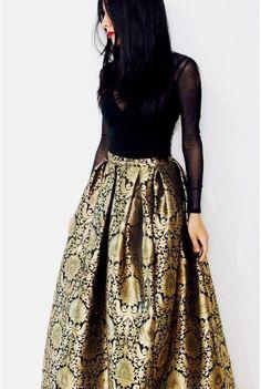 Black Brocade Maxi Skirt with Plain Chiffon by KaamdaniCouture
