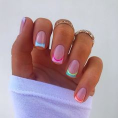 "Joely Frain on Instagram: ""Rainbow Frenchies 🌈💫"" Square Acrylic Nails, Summer Acrylic Nails, Cute Acrylic Nails, Square Nails, Gorgeous Nails, Pretty Nails, Nail Quotes, Fire Nails, Nail Ring"