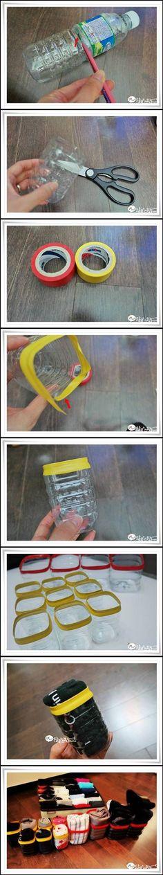 DIY Plastic Bottle Underwear Organizer DIY Projects / UsefulDIY.com