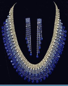 Royal Blue, Light Blue & Clear Rhinestone Necklace with Earrings ( also comes in green ) $89 @ www.whimzaccessories.com