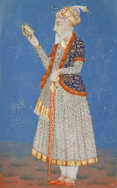 """Emperor Aurangzeb Alamgir (""""Universal-Siezer"""") (Muslim; Mongol; 31/7/1658-3/3/1707 CE Mughal Emperor) (c. 18th Century CE Mughal Miniature Painting, India) 