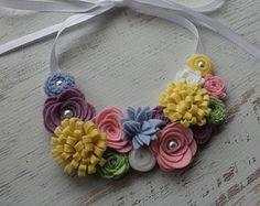 Spring Wool Felt Flower Bib Necklace -Easter Pastels - Open Satin Ribbon Tieback