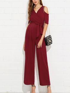 Product name: Open Shoulder Tie Waist Jumpsuit at SHEIN, Category: Jumpsuits Maternity Jumpsuit, Jumpsuit Outfit, Dress Pants, Jumpsuit Elegante, Kinder In Not, Fashion News, Fashion Trends, Fashion Fashion, Vintage Fashion