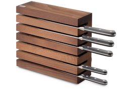 Shop the Magnetic Knife Block by Wusthof, a well-crafted, highly functional beech wood knife block that is a chic accent for a modern kitchen.