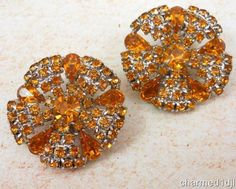 "Vintage Orange Rhinestone Cluster Earrings Silver Clips Huge 1.5""D So Sparkly! #Unbranded #Cluster"