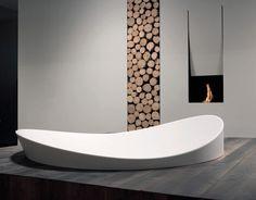 Antonio Lupi - Il canto del fuoco - Caminetto a bioetanolo e legna in bagno