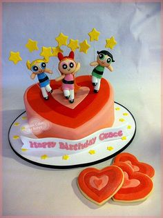 Power Puff Girls Cake and cookies
