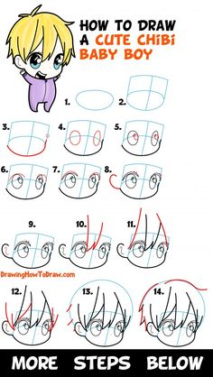 How to Draw a Cute Chibi Boy Easy Step by Step Drawing Tutorial for Kids & Beginners - How to Draw Step by Step Drawing Tutorials Little Boy Drawing, Boy Hair Drawing, Boy Sketch, Chibi Sketch, Step By Step Sketches, Step By Step Drawing, Learn To Draw Anime, How To Draw Boy, Chibi Body