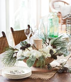 simple nature decor on christmas buffet table Winter Table Centerpieces, Christmas Centerpieces, Christmas Decorations, Centerpiece Ideas, Merry Christmas, Simple Christmas, Christmas Home, Christmas Buffet Table, Christmas Tablescapes