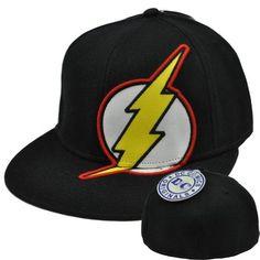 free shipping 39e76 f867d The Flash Superhero DC Comics Book Original Flat Bill Brim Adult Fitted Hat  Cap by bioworld