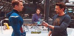 Robert Downey Jr. kept food hidden all over this set. They couldn't find where it was, so they just let him continue doing it. That's his actual food he's offering, and when he was eating in a scene, it wasn't scripted. He was just hungry