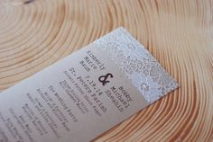 Elegant Lace Doily Wedding Programs or Menus - Save the Date - Autumn, Fall, Christmas - Engagement Party - Escort Card - Wedding Invitation - postscripts.etsy.com
