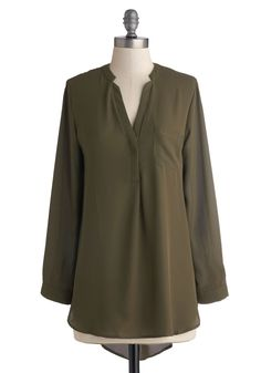 Olive the Above Top. What is it about this sheer, olive-green top that brings you so much joy? #green #modcloth