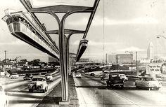Monorail drawing, LA circa 1954