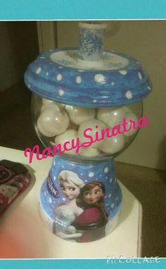 Frozen gumball jar made by Nancy Sinatra 2015.