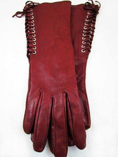 Vintage Georges Rech Burgundy Ladies Leather Gloves
