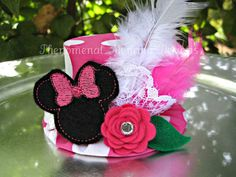 Birthday Hat Mini Top Hat Photo Prop Inspired by Minnie Mouse 2 Year Old Birthday Party, Minnie Birthday, 4th Birthday Parties, Birthday Ideas, 2nd Birthday, Happy Birthday, Crochet Mickey Mouse, Classic Mickey Mouse, Minnie Mouse Theme