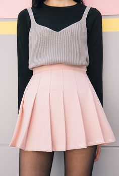 """"""" Knitted Sleeveless Top """" wear this outfit so i can make heart eyes at you K Fashion, Skirt Fashion, Korean Fashion, Fashion Outfits, Skirt Outfits, Dress Skirt, Cute Outfits, Boyish Style, Tennis Skirts"""