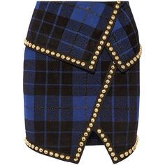 Balmain Asymmetric embellished tartan jacquard-knit mini skirt (€1.720) ❤ liked on Polyvore featuring skirts, mini skirts, balmain, gonne, blue skirts, mini skirt, short plaid skirt, plaid miniskirts and high waisted short skirts