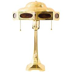 Beautiful Brass and Opaline Glass Jugendstil Table Lamp ca.1907