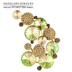 Neoglory Cristal de L'autriche et Auden Strass Broche Géométrique Conception Alliage Or Plaqué Pour Femmes Élégant À La Mode Partie Cadeau