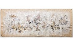 Manuscript</br>36 x 92 inches, Found papers, acrylic, oil bar, and thread on found painter