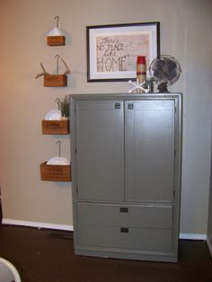 Gray hutch, herb crate boxes