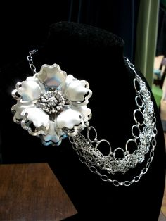 Repurposed vintage pin and crocheted wire detailing necklace. CJ Jensen, Fargo, ND