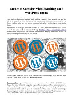 Factors to consider when searching for a word press theme by Amy Brown via slideshare
