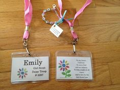 SWAPS Lanyard! Our troop is having our first SWAPS meeting tomorrow. I made these lanyards for all of the girls to keep them!! Got the pink lanyards & plastic name tag holders from Amazon. Used the Avery template 74461 for name tag labels in MS Word. Printed out on card stock, and cut to size giving each girl the name & troop# on front and the promise on the back. I found the artwork when I googled Girl Scout Daisy. I'm so excited for the girls to see these :)