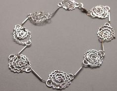 Filigree Chain Necklace Choker Necklace Fine Silver Necklace Delicate Link Chain Silver Bead Flower Necklace Artisan Made Jewelry by ShillyShallyjewelry on Etsy