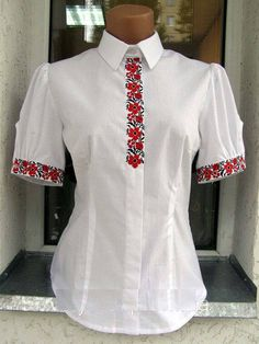 Ukrainian traditional embroidered shirt vyshyvanka by Smerichka Mexican Outfit, Mexican Dresses, Short Kurti Designs, Uniform Design, Sports Hoodies, Embroidered Clothes, Diy Clothing, Beautiful Outfits, Fashion Dresses