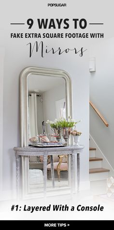When knocking down walls just isn't an option, mirrors can be a transformative solution for visually expanding a small space — no contractor required. Decor, Room, Small Spaces, Foyer Decorating, Home Decor, Apartment Decor, Home Deco, Knock Down Wall, Mirror