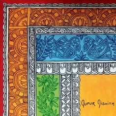 Madhubani Art, Madhubani Painting, Kalamkari Painting, Hand Painted Fabric, Indian Art Paintings, Indian Folk Art, Buddha Art, Border Design, Simple Art