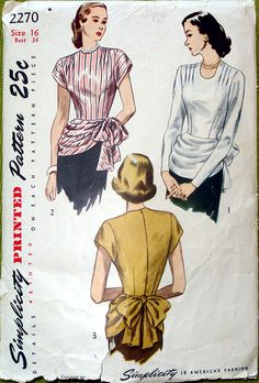 Vintage Simplicity Sewing Pattern Be inspired! Vintage Dress Patterns, Clothing Patterns, Vintage Dresses, Vintage Outfits, Moda Vintage, Vintage Tops, Unique Vintage, 1940s Fashion, Vintage Fashion