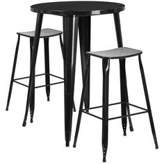30'' Round Metal Indoor-Outdoor Bar Table Set with 2 Backless Saddle Seat Barstools