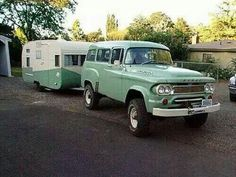Dodge with matching Vintage Shasta
