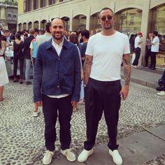 """Daniel Lindström on Instagram: """"Mikael Schiller och Pontus Björkman från Acne Studios på invigningen av varumärkets första butik i Italien. #acnestudios #milano #mfw"""""""