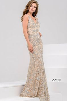 dc94fb5300 Jovani 33007 Utah prom dresses long fitted stones silver Ypsilon Dresses  nude Nude Gown