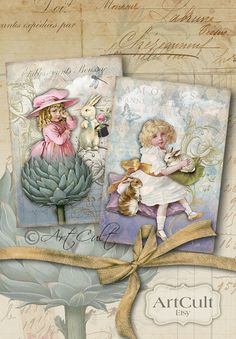 LITTLE CHARLOTTE - Digital Collage Sheet 2 Printable Unique Vintage Greeting Cards Gift tags