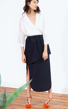 Shawl Collar Wrap Shirt by Isa Arfen - Moda Operandi