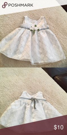 Dress White and silver dress. Satin roses at waist. Excellent condition Dresses Formal