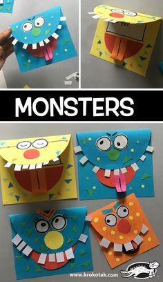 Monsters craft activities, creative activities for children, monster activities, creative kids, hobbies Kids Crafts, Halloween Crafts For Kids, Toddler Crafts, Preschool Crafts, Projects For Kids, Easy Halloween, Halloween Party, Easy Art Projects, Daycare Crafts
