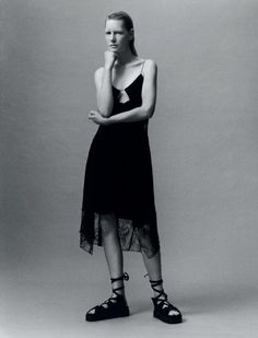 Self Service-Spring 2014 issue featured model Kirsten Owens in a black silk crepe/lace slip dress photographed by Jamie Hawkesworth, styled by Benjamin Bruno Light Photography, Photography Photos, Fashion Shoot, Fashion Art, Celine, Summer 2014, Spring Summer, Spring 2014, Self Service