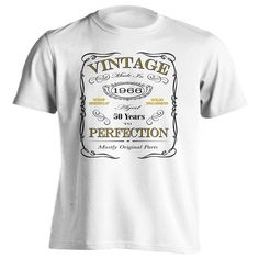 50th Birthday Gift T-Shirt - Born In 1966 - Vintage Aged 50 Years To Perfection - Short Sleeve - Mens - White - X-Large T Shirt - (2016 Version)