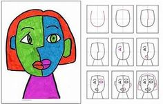 Marker Cubism Face - Art Projects for Kids