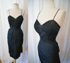 1950's black satin sweetheart cocktail wiggle dress with lace and sequins bustle back