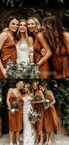 Spaghetti Straps Burnt Orange Short Bridesmaid Dresses Online, Cheap Bridesmaids Dresses, WG714#bridesmaids #bridesmaiddress #bridesmaiddresses #dressesformaidofhonor #weddingparty #2020bridesmaiddresses