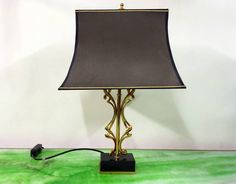 Abstract Mid Century Brass Lamp with Marble Base 1970s