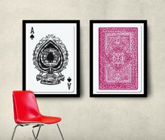 Set of 2 Playing Cards prints.    Ideal for your bedroom.    Posters measurements fit perfectly into Ikea 'RIBBA' frames 50x70 cm.    Posters are sent in a rigid postage tube.